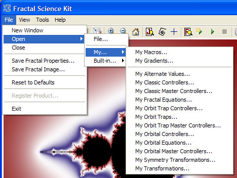 Fractal Science Kit - Fractal Window File Menu