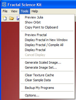 Fractal Science Kit - Fractal Window Tools Menu