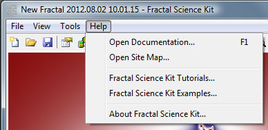 Fractal Science Kit - Fractal Window Help Menu
